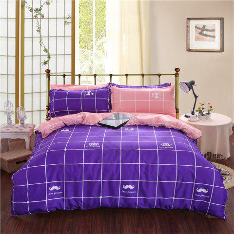 Aloe Vera Cotton Crown Two Colors Grid Three-Piece Bedding Sets - PURPLE/PINK