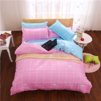 Aloe Vera Cotton Crown Two Colors Grid Three-Piece Bedding Sets - PINK AND BLUE PINK/BLUE
