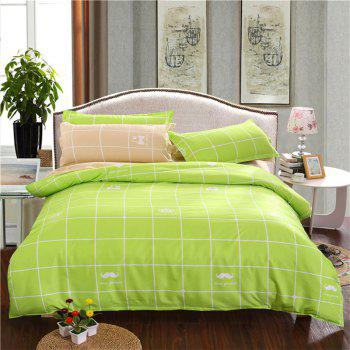 Aloe Vera Cotton Crown Two Colors Grid Three-Piece Bedding Sets - FRUIT GREEN FRUIT GREEN