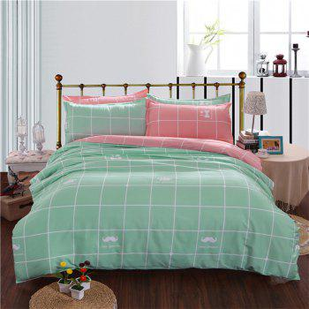 Aloe Vera Cotton Crown Two Colors Grid Three-Piece Bedding Sets -  LAKE GREEN