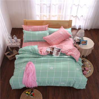 Aloe Vera Cotton Crown Two Colors Grid Three-Piece Bedding Sets - LAKE GREEN LAKE GREEN