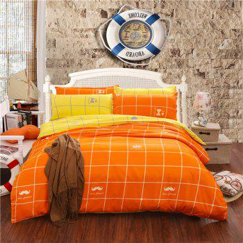 Aloe Vera Cotton Crown Two Colors Grid Three-Piece Bedding Sets - ORANGE YELLOW