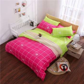 Aloe Vera Cotton Crown Two Colors Grid Three-Piece Bedding Sets - ROSE RED ROSE RED