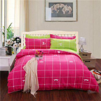 Aloe Vera Cotton Crown Two Colors Grid Three-Piece Bedding Sets - ROSE RED
