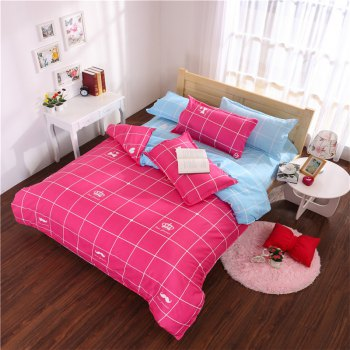 Aloe Vera Cotton Crown Two Colors Grid Three-Piece Bedding Sets - ROSE RED + BLUE ROSE RED / BLUE