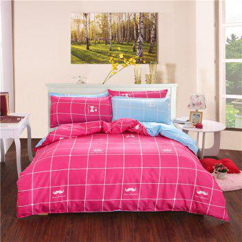 Aloe Vera Cotton Crown Two Colors Grid Three-Piece Bedding Sets - ROSE RED / BLUE