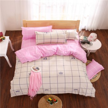 Aloe Vera Cotton Crown Two Colors Grid Three-Piece Bedding Sets - OFF-WHITE AND PINK OFF WHITE/PINK
