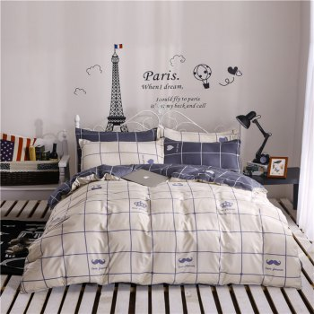 Aloe Vera Cotton Crown Two Colors Grid Three-Piece Bedding Sets - OFF-WHITE OFF WHITE