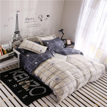 Aloe Vera Cotton Crown Two Colors Grid Three-Piece Bedding Sets - OFF WHITE