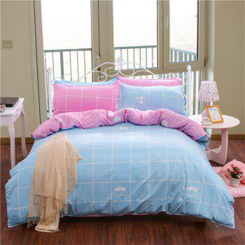 Aloe Vera Cotton Crown Two Colors Grid Three-Piece Bedding Sets - BLUE AND PINK BLUE/PINK