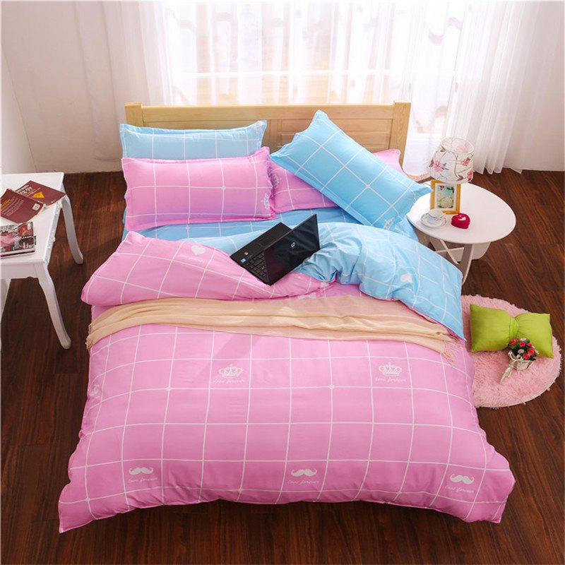 Aloe Vera Cotton Crown Two Colors Grid Three-Piece Bedding Sets - PINK/BLUE