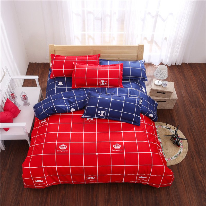 Aloe Vera Cotton Crown Two Colors Grid Three-Piece Bedding Sets - RED/DARK BLUE