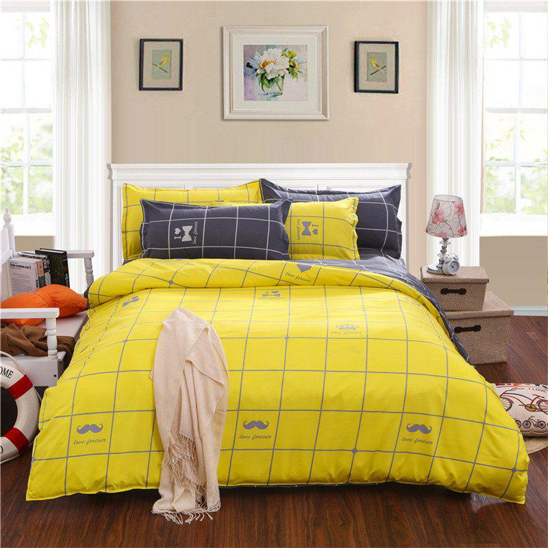 Aloe Vera Cotton Crown Two Colors Grid Three-Piece Bedding Sets - YELLOW GREY