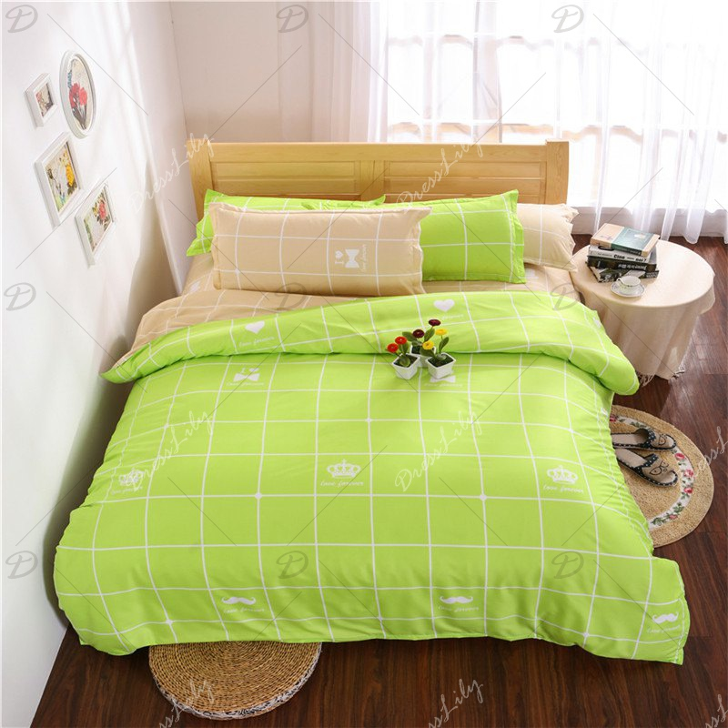 Aloe Vera Cotton Crown Two Colors Grid Three-Piece Bedding Sets - FRUIT GREEN