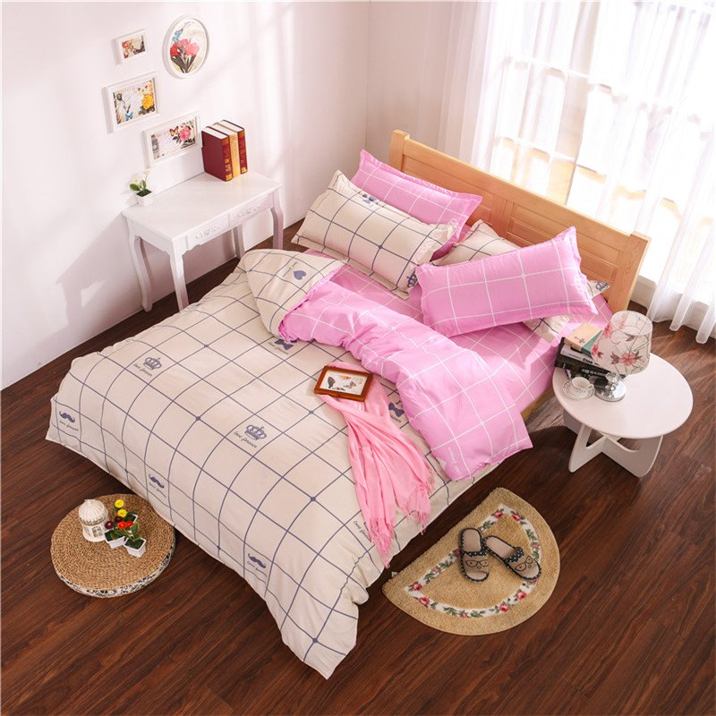 Aloe Vera Cotton Crown Two Colors Grid Three-Piece Bedding Sets - OFF WHITE/PINK