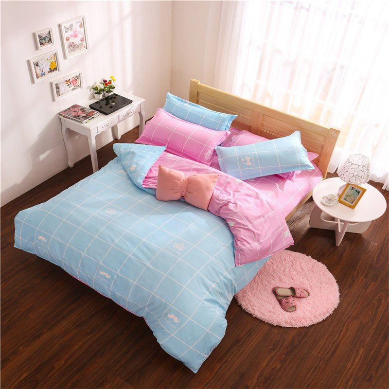 Aloe Vera Cotton Crown Two Colors Grid Three-Piece Bedding Sets - BLUE/PINK