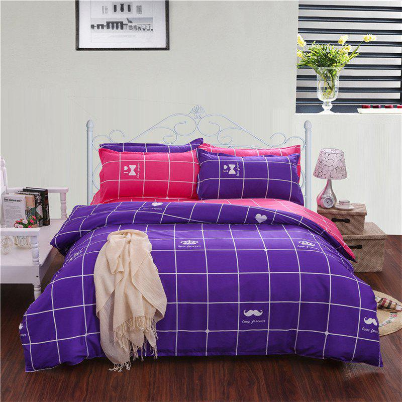 Aloe Vera Cotton Crown Two Colors Grid Three-Piece Bedding Sets - PURPLE RED