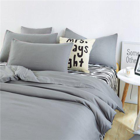 Aloe Vera Cotton Zebra Sheet and Pure Color Quilt for Children'S Three-Piece Bedding Sets - GREY