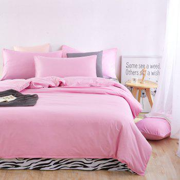Aloe Vera Cotton Zebra Sheet and Pure Color Quilt for Children'S Three-Piece Bedding Sets - PINK PINK