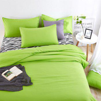 Aloe Vera Cotton Zebra Sheet and Pure Color Quilt for Children'S Three-Piece Bedding Sets - FRUIT GREEN FRUIT GREEN