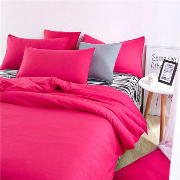 Aloe Vera Cotton Zebra Sheet and Pure Color Quilt for Children'S Three-Piece Bedding Sets - ROSE RED ROSE RED