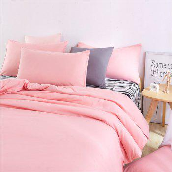 Aloe Vera Cotton Zebra Sheet and Pure Color Quilt for Children'S Three-Piece Bedding Sets - FLESH PINK