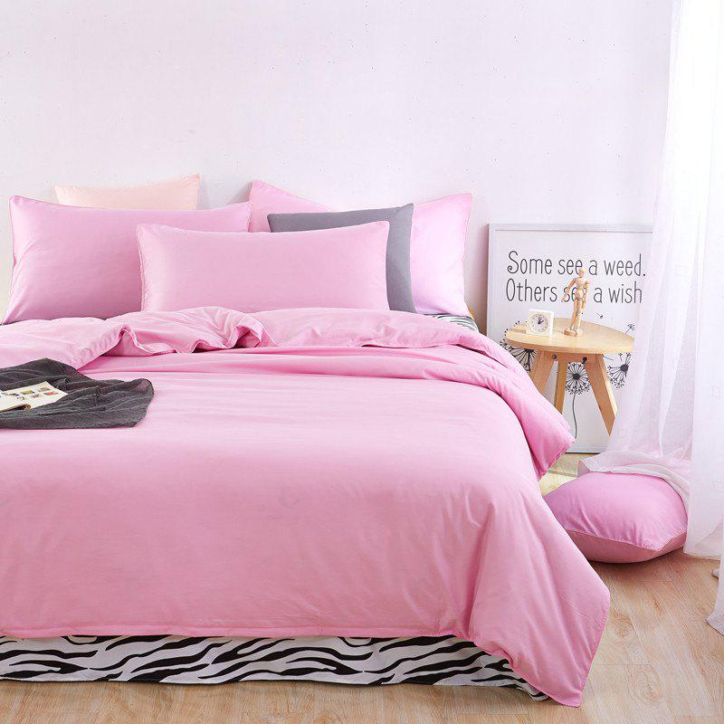 Aloe Vera Cotton Zebra Sheet and Pure Color Quilt for Children'S Three-Piece Bedding Sets - PINK
