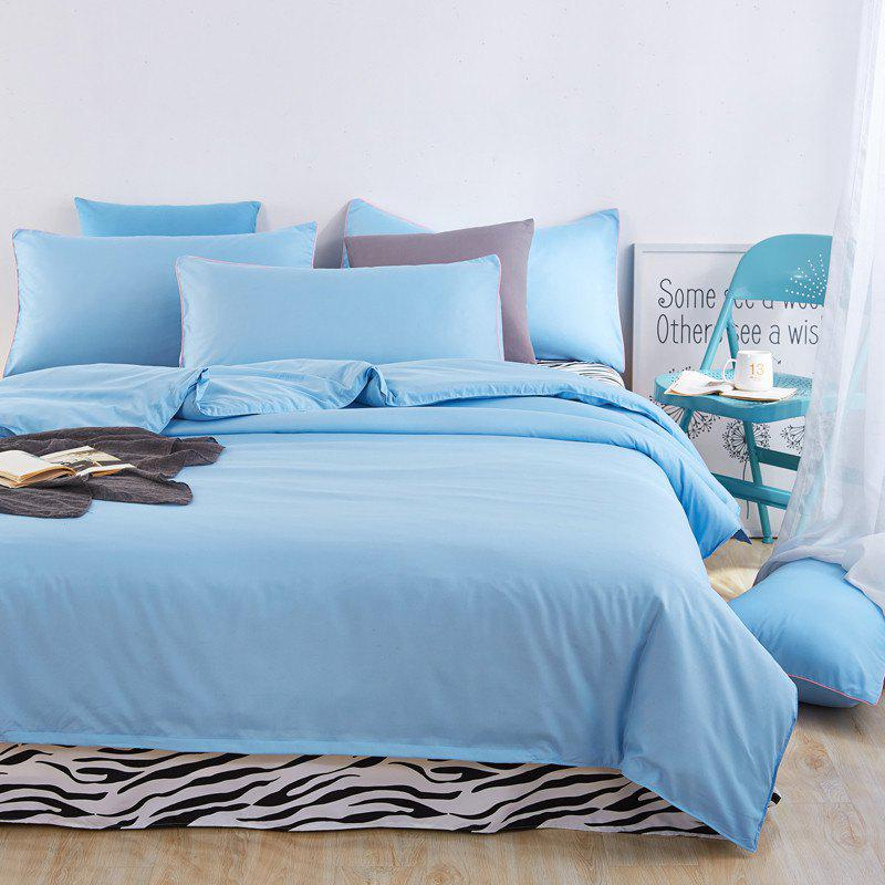 Aloe Vera Cotton Zebra Sheet and Pure Color Quilt for Children'S Three-Piece Bedding Sets - BLUE