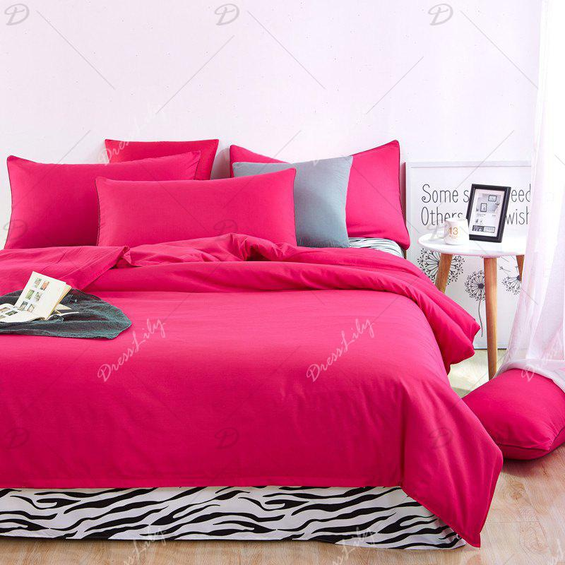 Aloe Vera Cotton Zebra Sheet and Pure Color Quilt for Children'S Three-Piece Bedding Sets - ROSE RED