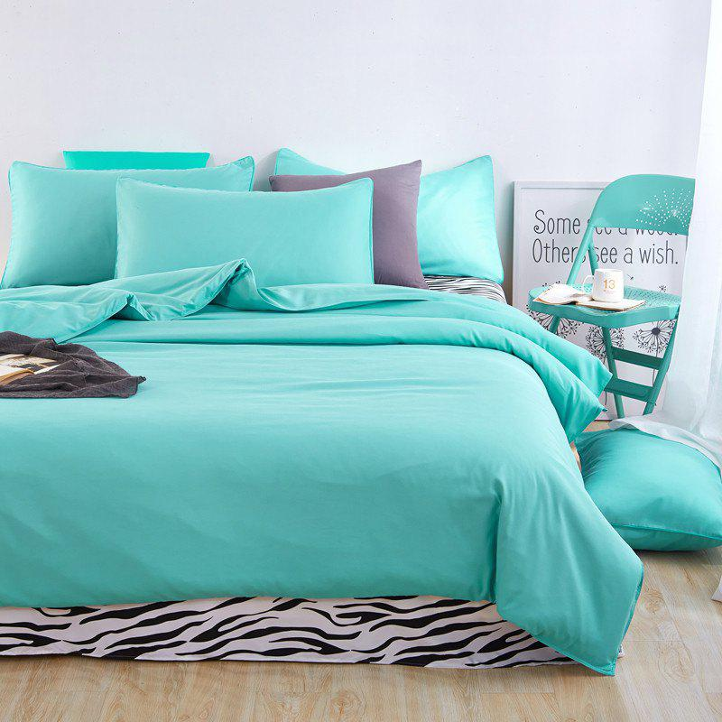 Aloe Vera Cotton Zebra Sheet and Pure Color Quilt for Children'S Three-Piece Bedding Sets - LAKE BLUE