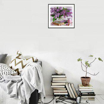 Naiyue 7142  Flower  Print Draw Diamond Drawing - WHITE PURPLE