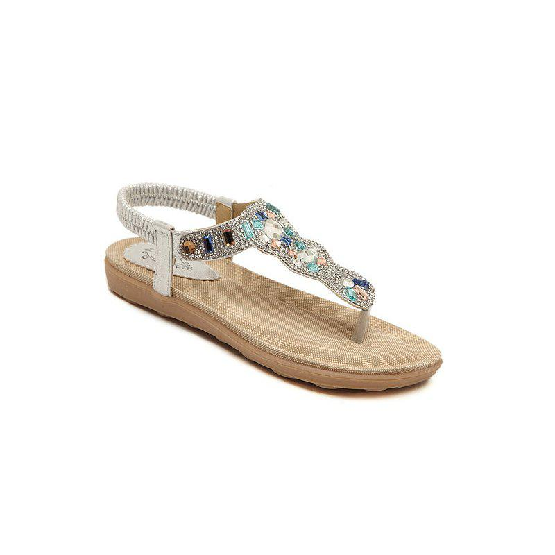 Ladies Rubber Sole Water Drill Beach Flip-Flops - SILVER 36