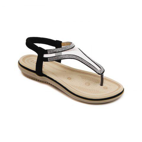 Ladies Rubber Sole Water Drill Net Clip for Sandals - BLACK 35