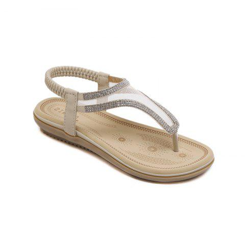Ladies Rubber Sole Water Drill Net Clip for Sandals - APRICOT 35