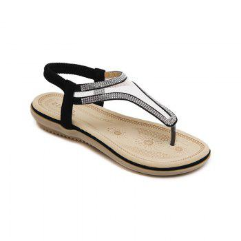 Ladies Rubber Sole Water Drill Net Clip for Sandals - BLACK BLACK