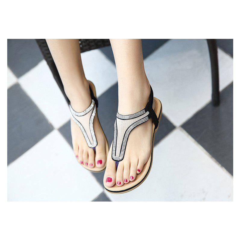 Ladies Rubber Sole Water Drill Net Clip for Sandals - BLACK 39