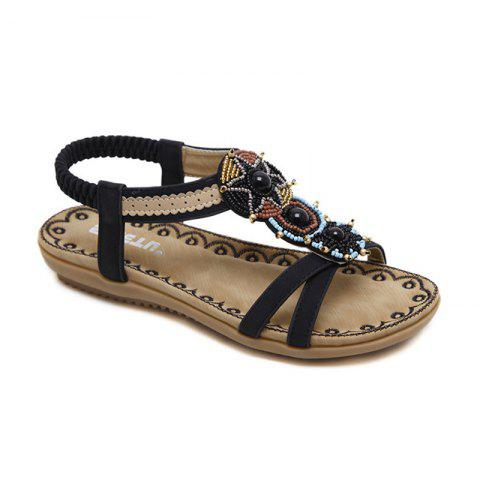 Ladies Rubber Sole National Wind Foreign Trade Large - Size Strappy Sandals - BLACK 38