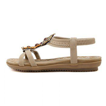 Ladies Rubber Sole National Wind Foreign Trade Large - Size Strappy Sandals - APRICOT APRICOT