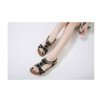 Ladies Rubber Sole National Wind Foreign Trade Large - Size Strappy Sandals - BLACK BLACK
