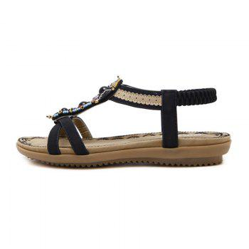 Ladies Rubber Sole National Wind Foreign Trade Large - Size Strappy Sandals - BLACK 35