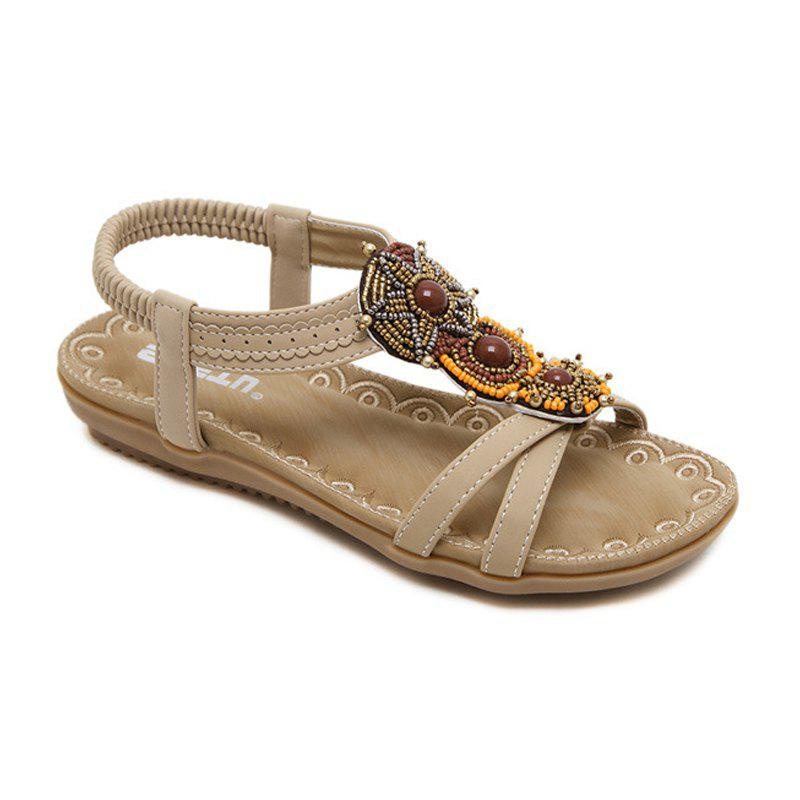 Ladies Rubber Sole National Wind Foreign Trade Large - Size Strappy Sandals - APRICOT 38