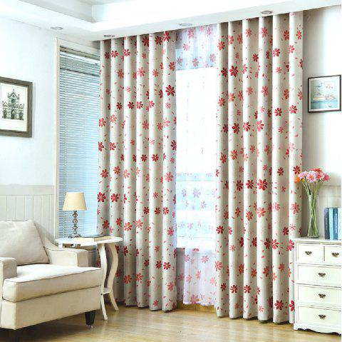 Shade Cloth Curtains With Multicolored Flowers - RED FLAT FRONT