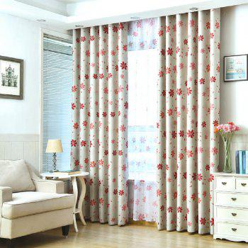 Shade Cloth Curtains With Multicolored Flowers - RED RED