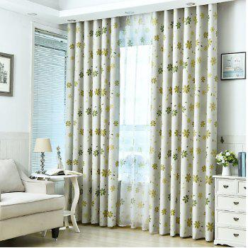 Shade Cloth Curtains With Multicolored Flowers - GREEN GREEN