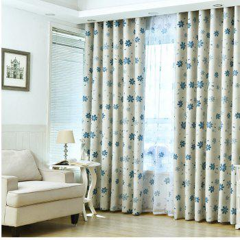 Shade Cloth Curtains With Multicolored Flowers - AZURE AZURE