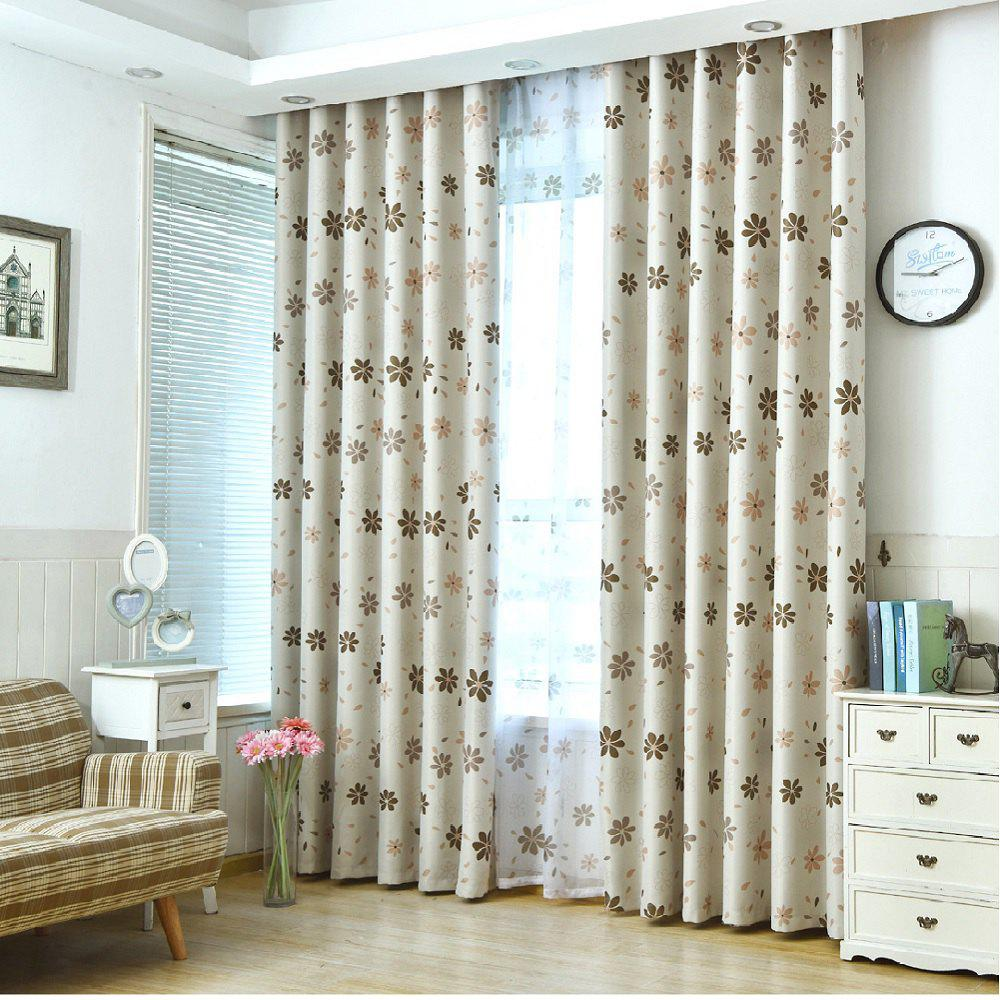 Shade Cloth Curtains With Multicolored Flowers - MOCHA FLAT FRONT