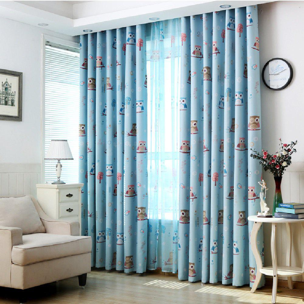 Cartoon Owl Shaded Curtain - BLUE FLAT FRONT