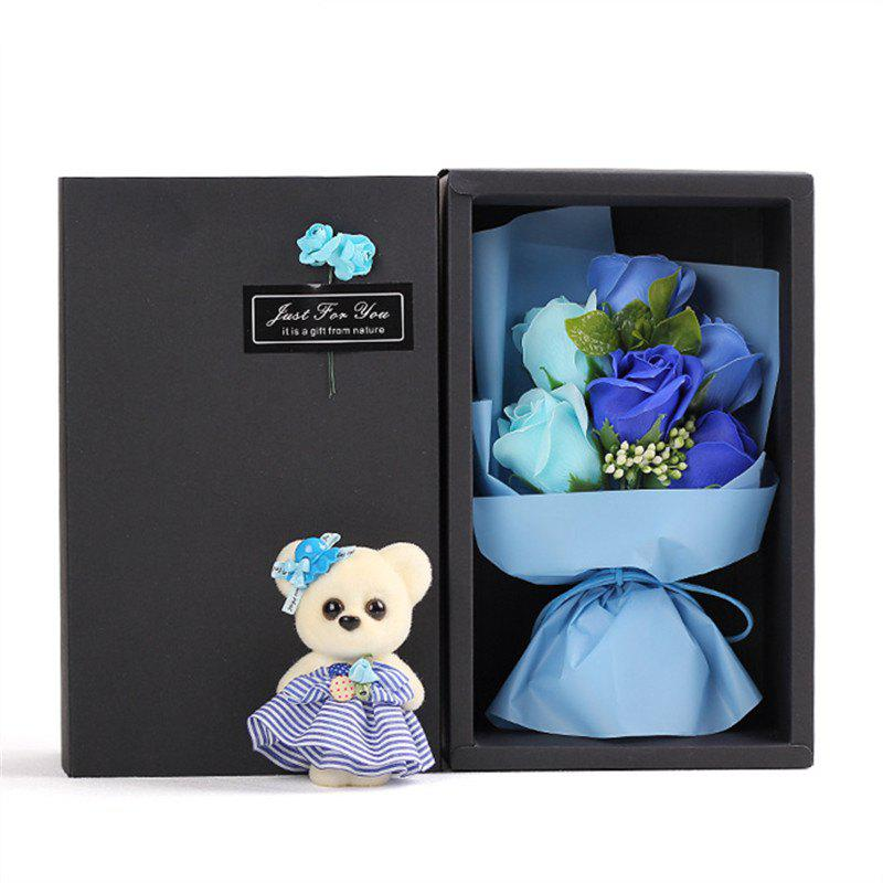 6Pcs Box Romantic Rose Soap Flower With Little Cute Bear Doll Great for Valentine's Day Wedding birthday Gifts - BLUE