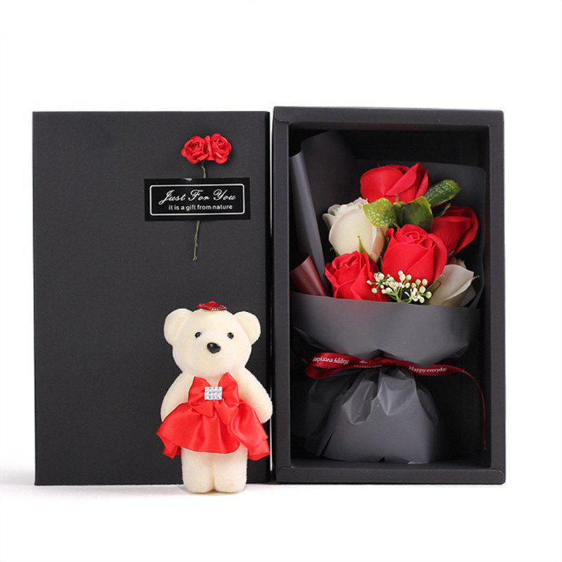 6Pcs Box Romantic Rose Soap Flower With Little Cute Bear Doll Great for Valentine's Day Wedding birthday Gifts - RED
