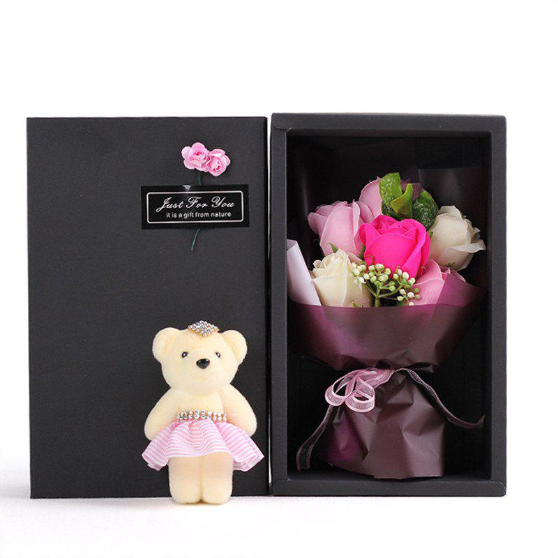 6Pcs Box Romantic Rose Soap Flower With Little Cute Bear Doll Great for Valentine's Day Wedding birthday Gifts - PINK